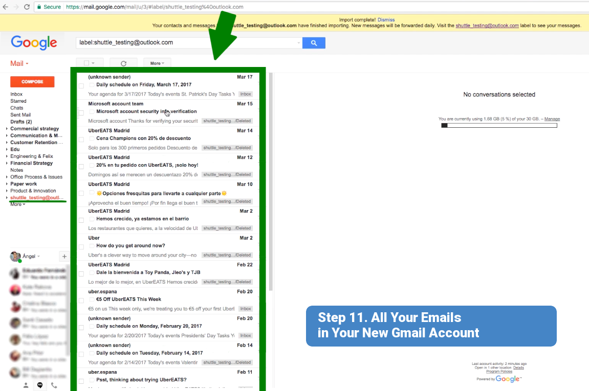 Step 11. All your emails in your new Gmail account