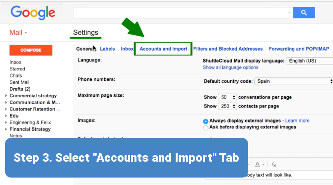 Step 3. Accounts and Import Tab
