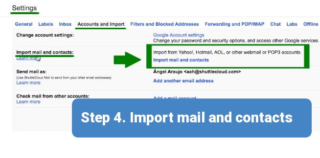 Step 4. Import Mail and Contacts