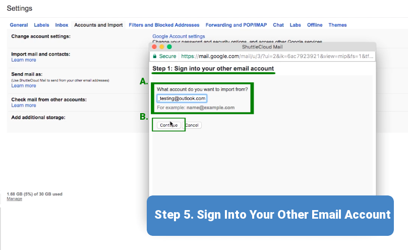 Step 5. Sign into Your Other Email Account