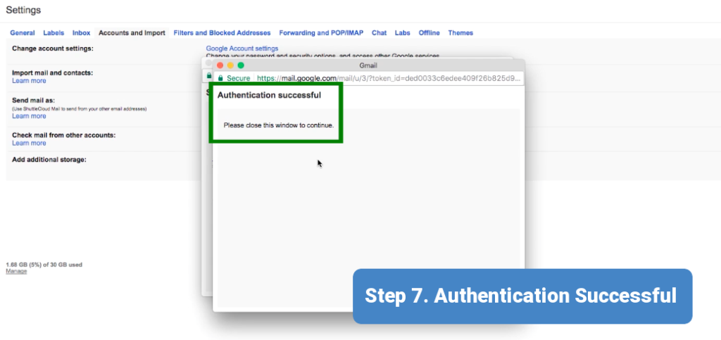 Step 7. Authentication has been successful